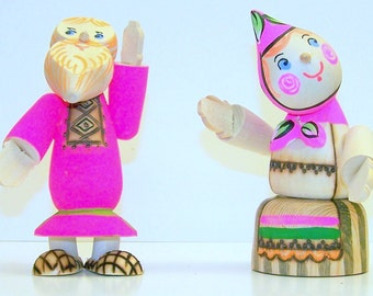 Father Frost & Peasant Mother - WOOD FIGURES set of 2