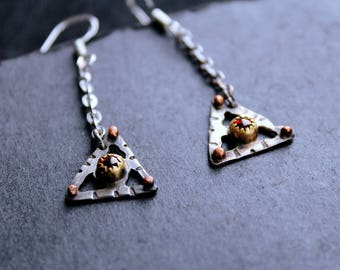 Earrings with red glass