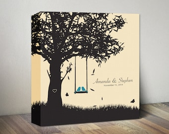 Personalized Family Name Wall Art  Canvas Love Birds Wedding Family Tree Print Wedding Anniversary Gift for Her Engagement Gift Housewarming