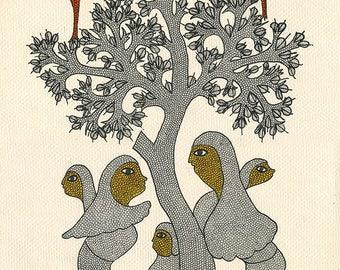 Togetherness, Gond Artwork, Original Acrylic.