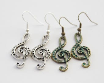 Treble Clef Earrings Music Earrings Music Lover Gift Treble Clef Jewelry Music Teacher Gift Musician Gift Treble Clef Present