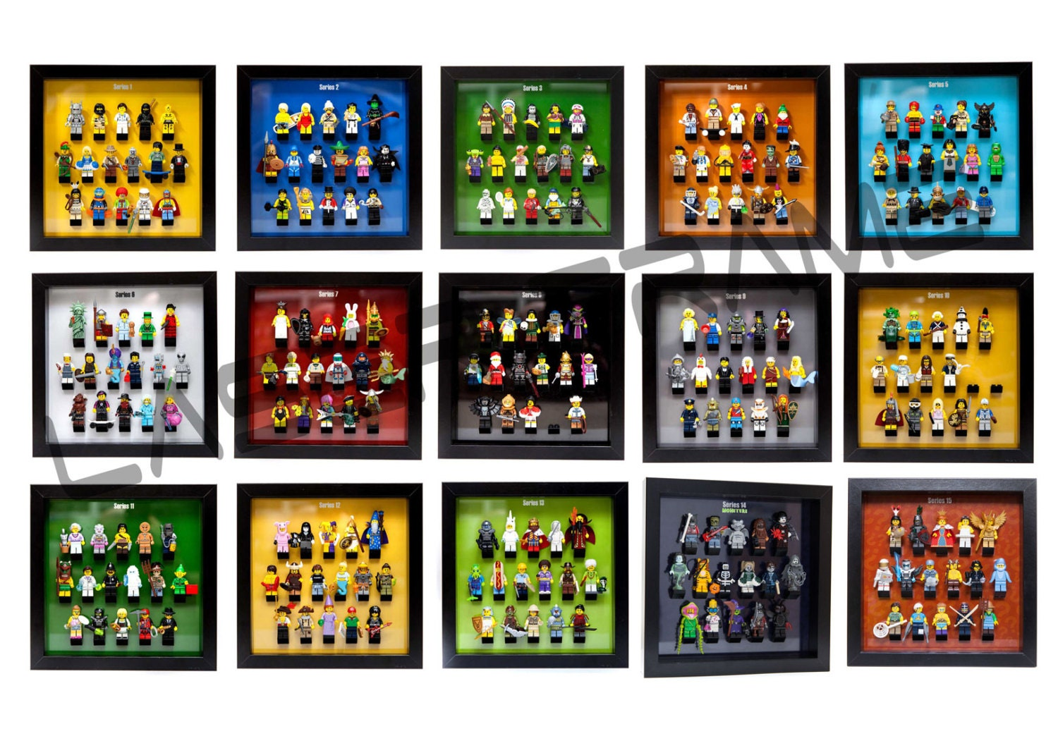 Series 1-18 Acrylic frame insert to hold lego minifigures