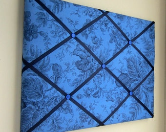 "16""x20"" French Memory Board or Bow Holder, Ribbon Board, Photograph Organizer, Vision Board, Bow Board,Dark Blue Ink Floral"