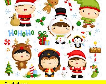 Christmas Clipart, Christmas Clip Art, Christmas Png, Holiday Clipart, Kids Clipart, Holiday Clipart, Deer Clipart, Santa Clipart, Snowman