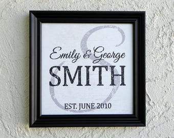 Modern Family Name Sign. Personalized Family Name Sign. Picture Frame Established Family Sign. Established Sign. Custom Wedding Gift. 11x11