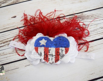 Handcrafted Fancy Ostrich Feather Flag Headband - July 4th Baby Headband - Red White and Blue Hair Accessory - Sequin American Flag Bows