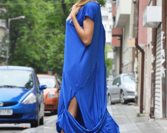 Extravagant Blue Maxi Dress, Asymmetrical Sexy Tunic, Plus Size Clothes, Summer Dress Kaftan by SSDfashion