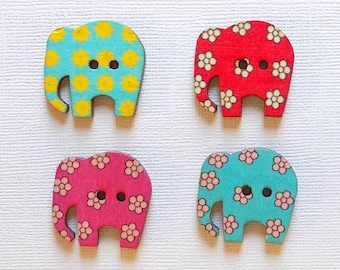 4 Wooden Elephant Buttons, Multi Color Buttons - #SB-00035