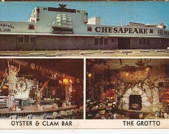 Chesapeake Sea Food House, Miami, Florida, Vintage Postcard, Restaurant, Clam Oyster Bar, Florida Seafood, Souvenir, Color Photo