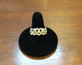 14K yellow gold heart shaped tri-band diamond ring. Size 7.5