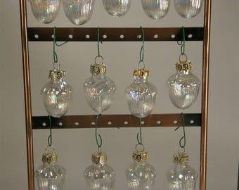 Vintage Christmas Ornaments / Vintage Irridescent Glass / Glass Christmas Ornaments Set (13)