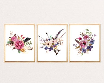 Watercolor Flowers Wall Art Print - Flowers Painting Print - Flowers Illustrations - Set of 3 - Arrows Feathers - Home decor - Flowers Art  sc 1 st  Etsy & Flower wall art | Etsy