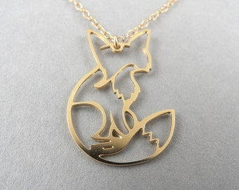 fox necklace shy fox necklace fox charm gift for her fox jewelry fox pendant gold fox