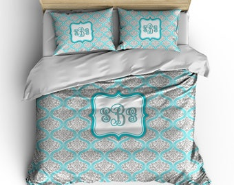 Personalized Custom Chevron and  Dream Damask Bedding -Available Toddler, Twin, Full-Queen or king size, Any Color