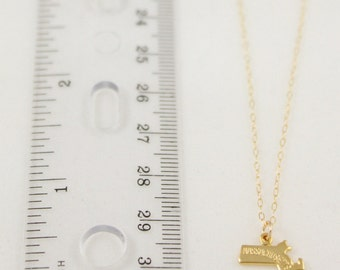 20% OFF FLASH SALE Dainty Gold Massachusetts State Handmade Delicate Tiny State Necklace by Coco & Marie