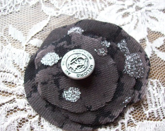 Fabric layers brooch. Black and silver. Tulle.Metal button.