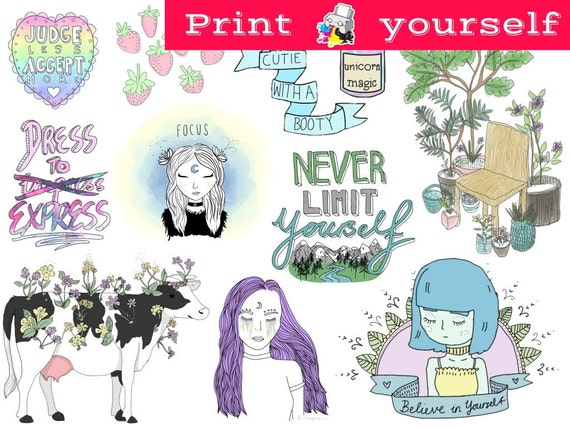 Mockup printable tumblr stickers stickers sets decals printable downloadable file only nothing will be shipped from beststickersclub on etsy studio