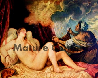 Danae and the Shower of Gold, by Titian - a Frameable Vintage 1955 Art Print