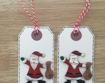 Set of 2 Santa gift tags
