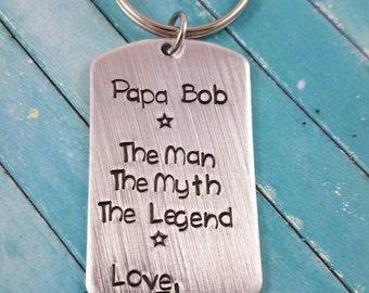 Papa Keychain, Grandpa Keychain, Grandfather Keychain, Gift for Him, Custom Grandpa Keychain, Stamped Keychain