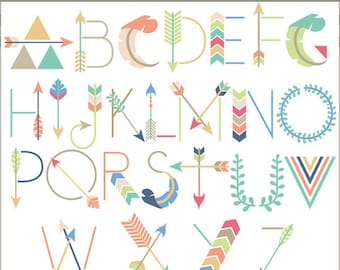 Arrow Alphabet Clipart -Personal and Limited Commercial Use- geometric alphabet Clip art
