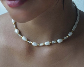 Choker Necklace, Pearl Choker, Macrame Necklace, Pearl Necklace, Boho Choker, Beach Wedding Necklace