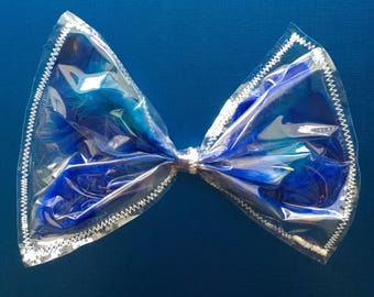 Blue Feather hair bow, Blue feather see-thru bow, Blue hair bow, giant hair bow, giant Blue hair bow, clear hair bow with blue feathers, bow