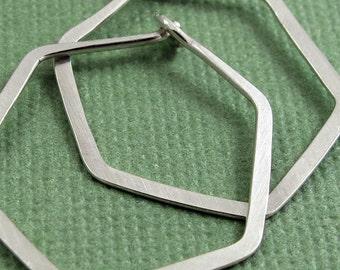 Hexagon Hoops - Sterling Silver Hoop Earrings