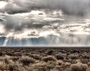 Ice Clouds, Nevada, Desert, Landscape, Travel, Giclée Print, Archival, Photograph, Color, Storm, Clouds, Mountains