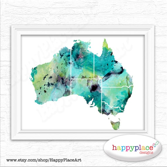 watercolour map of australia large australian map poster