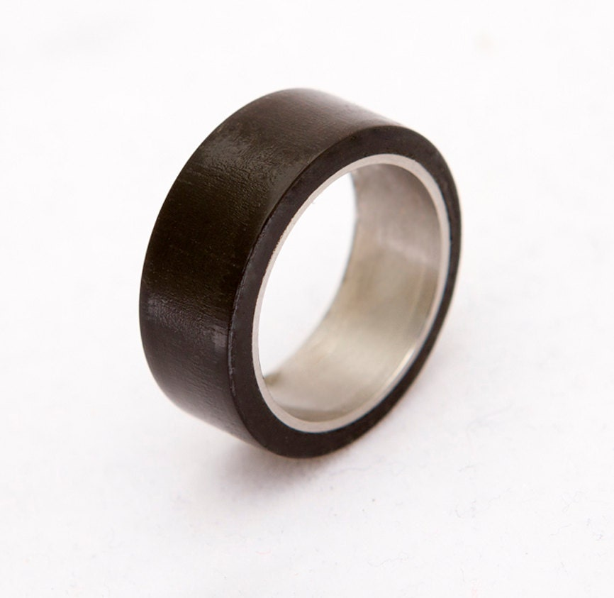 Titanium RIng Wood Ring Man Ring Mens Wedding Band with black