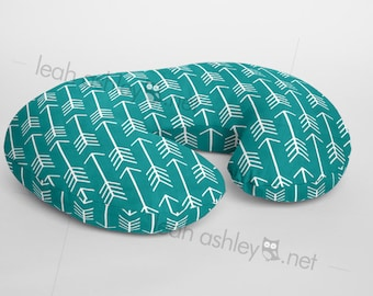 Boppy® Cover, Nursing Pillow Cover - Teal Arrows Minky - BC1