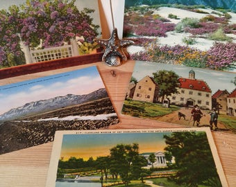 Vintage Postcards 1910-1960's-Beautiful Historical Postcards-French and American Ephemera-Five Old Collectible Postcards for Paper Crafting