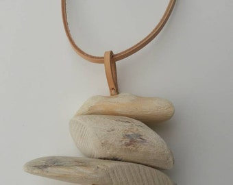 White Washed Wooden Leather Pendant  Necklace