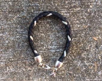 Black/White Horse Hair Braided Horsehair Bracelet - 6MM Round Braid