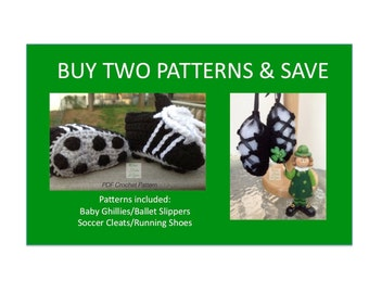 2 Instant Downloads - Buy Baby Ghillies - Soccer Cleats - PDF Crochet Patterns and Save