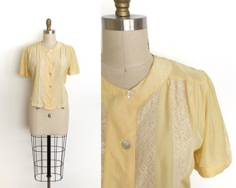 vintage 1930s top   30s rayon and lace blouse