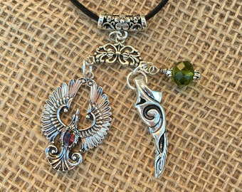 Harry Potter Phoenix and Basilisk Tooth Pendant Necklace.  Original Potterhead Gift for Her. A favorite with Harry Potter Fans.