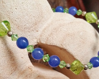 Peridot and Aventurine Bracelet, Blue and Green Jewelry, Swarovski Bracelet