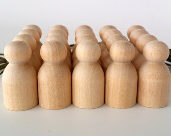 Wooden Peg Dolls / 20 Babies / Peg People / Waldorf / Unfinished Maple Ready to Paint / Twenty Babies