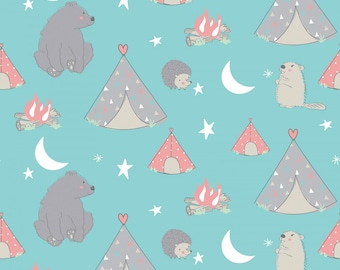 Camping Fabric, Camp Wee One Campsite, Springs Creative, Bear Fabric, Beaver, Tents, Hedgehog, 100% Cotton Fabric, Choose your Cut