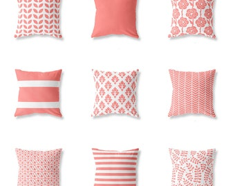 Coral Red Cushion Cover, Cotton, Decorative Pillow, Throw, Chevron Zigzag, Geometric, Floral