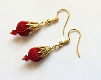 Gold Earrings in red cinnabar, clip-on, hooks or clips