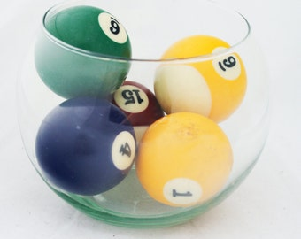 Pool Balls- Colorful Round Tabletop Accent Man Cave