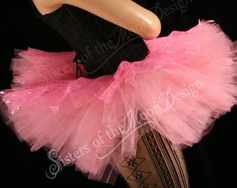 Whoa tutu Mini pink sparkle Peek a boo style skirt dance costume mauve gogo club wear run - You choose Size - Sisters of the Moon