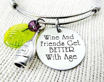 Wine Bracelet -  Wine and Friends Get Better With Age - Wine Jewelry - Wine Necklace - Wine Lover Bracelet