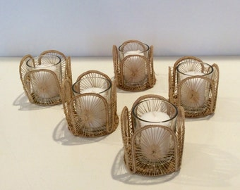 Vintage Raffia Candle Holders