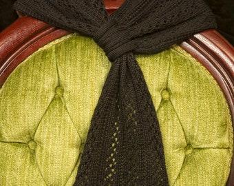 Black Lace Scarf Merino Wool Tencel