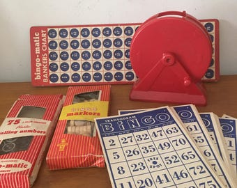 Vintage Bingo set // art supplies // mixed media