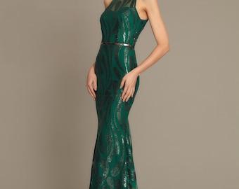 Green Maxi Pattern Sequin Dress